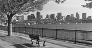 Boston Framed Prints - Boston and Charles River black and white pano Framed Print by John Burk