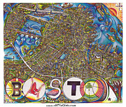 Boston Red Sox Drawings Posters - Boston Art Map Poster by Jonathan