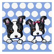 Puppies Digital Art Framed Prints - Boston Babies On Blue Framed Print by Kim Niles
