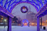 Winter Storm Photos - Boston Blue Christmas by Susan Cole Kelly