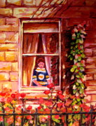 Hockey In Montreal Paintings - Boston Bruin Fan by Carole Spandau