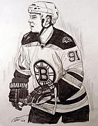 Nhl Hockey Drawings Prints - Boston Bruin Star Marc Savard Print by Dave Olsen