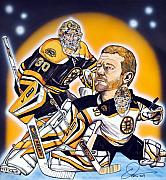Hockey Drawings Framed Prints - Boston Bruins Goalie Tim Thomas Framed Print by Dave Olsen