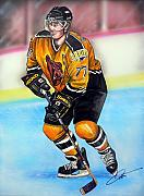 Nhl Drawings Framed Prints - Boston Bruins Ray Bourque Framed Print by Dave Olsen