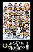 Hockey Drawings Framed Prints - Boston Bruins Stanley Cup Champions Framed Print by Dave Olsen