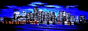 City Skylines Paintings - Boston by Black Light by Thomas Kolendra