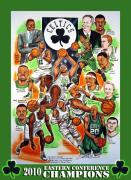 Boston Celtics Drawings Framed Prints - Boston Celtics Eastern Conference Champions Framed Print by Dave Olsen