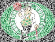 Boston Celtics Prints - Boston Celtics Greatest Players Mosaic Print by Paul Van Scott