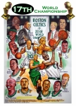 Basketball Drawings - Boston Celtics World Championship Newspaper Poster by Dave Olsen