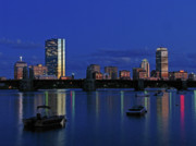 Boston Skyline Posters - Boston City Lights Poster by Juergen Roth
