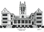 College Buildings Drawings Mixed Media Originals - Boston College by Frederic Kohli