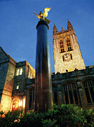 Poster Print Posters - Boston College Night Illumination of Gasson Hall Poster by Boston College Office of Marketing and Communication