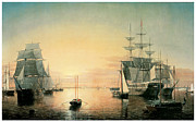 Sailing Ships Framed Prints - Boston Harbor Framed Print by Fitz Hugh Lane