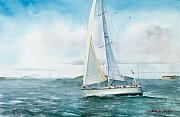 Seascape Paintings - Boston Harbor Islands by Laura Lee Zanghetti