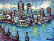 Boston Red Sox Painting Posters - Boston Harbor Poster by Jason Gluskin