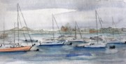 Boats In The Harbor Prints - Boston Harbor  Print by Julie Lueders