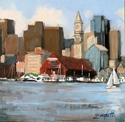 City Scape Painting Prints - Boston Harbor Print by Laura Lee Zanghetti