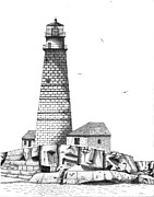 Boston Ma Drawings Prints - Boston Harbor Lighthouse Print by Tim Murray