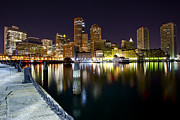 Charles River Framed Prints - Boston Harbor Nightscape Framed Print by Shane Psaltis