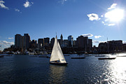 Bright Metal Prints - Boston Harbor Metal Print by Olivier Le Queinec