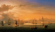 1854 Paintings - Boston Harbor by Pg Reproductions