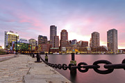 Railing Photo Prints - Boston Harbor Print by Photo by Jim Boud