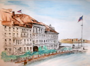 Boston Harbor Paintings - Boston Harbor Walkway 2 by Julie Lueders