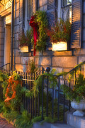 Bows Photos - Boston Holiday Doorstep by Joann Vitali