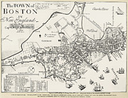 Engraving Photo Posters - Boston Map, 1722 Poster by Granger