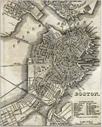 Massachusetts Drawings Posters - Boston Map of 1842 Poster by George Pedro