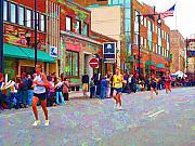 Boston Digital Art Framed Prints - Boston Marathon Mile Twenty Two Framed Print by Barbara McDevitt
