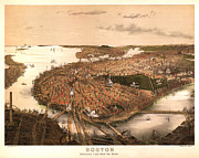 Vintage Map Digital Art Prints - Boston Massachusetts 1877 Print by Donna Leach