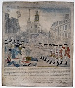 African Americans Framed Prints - Boston Massacre.  British Troops Shoot Framed Print by Everett