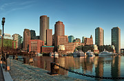 Street Light Posters - Boston Morning Skyline Poster by Sebastian Schlueter (sibbiblue)