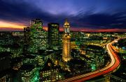 Night Views Posters - Boston Night Aerial With Time Exposure Poster by Joel Sartore