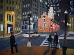 Cities Pastels Posters - Boston Night Poster by Marion Derrett