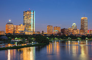 Watercraft Photos - Boston Night Skyline II by Clarence Holmes