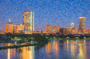 Impasto Photo Posters - Boston Night Skyline Impasto Poster by Clarence Holmes