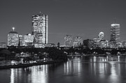 Time Exposure Posters - Boston Night Skyline V Poster by Clarence Holmes