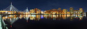 Boston Pano From Bridge To Bridge Print by Shane Psaltis
