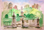 Boston Skyline Paintings - Boston Public Gardens by Julie Lueders