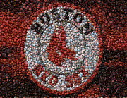 Boston Mixed Media Framed Prints - Boston Red Sox Bottle Cap Mosaic Framed Print by Paul Van Scott