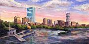 Boston Skyline Paintings - Boston Skyline - Back Bay by Jeff Pittman