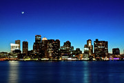 Illuminated Framed Prints - Boston Skyline Framed Print by By Eric Lorentzen-Newberg