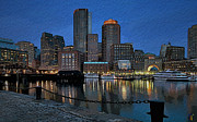 Boston Digital Art Framed Prints - Boston Skyline Framed Print by Byron Fli Walker