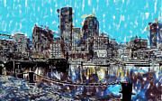 Boston Skyline Paintings - Boston Skyline by Dean Wittle
