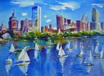 Sailboats Paintings - Boston Skyline by Diane Bell