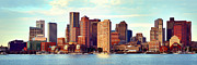 Boston Harbor Photos - Boston Skyline in Early Morning Panorama Harbor  by Jon Holiday