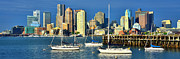 Boston Harbor Photos - Boston Skyline in Early Morning Panorama Harbor Sail Boats by Jon Holiday