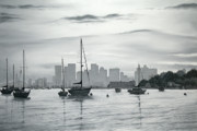 Boston Ma Painting Framed Prints - Boston Skyline  Framed Print by Matthew Martelli